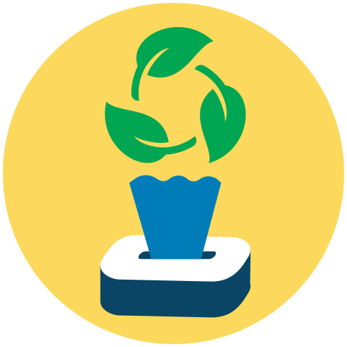 Lenços com tecido biodegradável